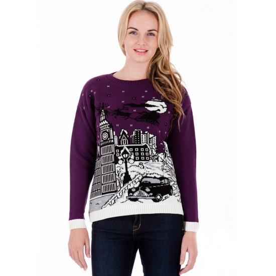 Vrouwen Kersttrui.Nu Zeer Voordelig Foute Kersttrui Purple London Voor Dames Bestellen