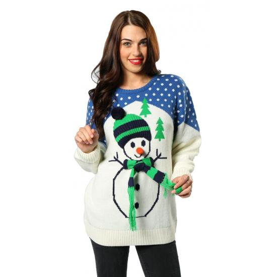 Kersttrui Vandaag Besteld Morgen In Huis.Nu Zeer Voordelig Foute Kersttrui Sneeuwpop Met Belletjes Bestellen